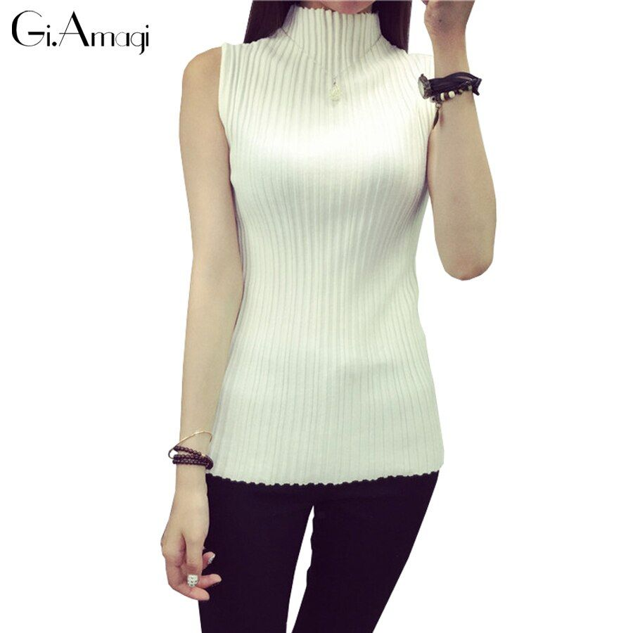 Womens High-necked Sleeveless Vest Bottoming Shirt Super Stretch knitted T-shirt Women
