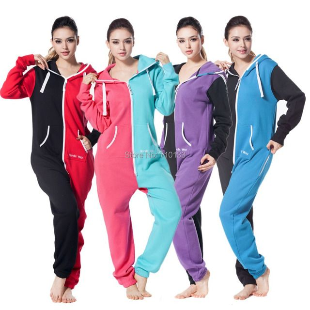 one piece jumpsuit playsuit for women adult romper  onsies mixed color fashion hoody fleece