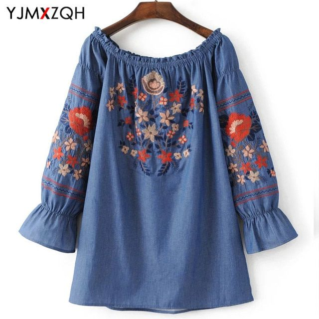 Embroidery Off Shoulder Top Womens Shirts Summer 2017 Embroidered Blouse Plus Size Women Tops Shirt Blouses Korean Ladies Office