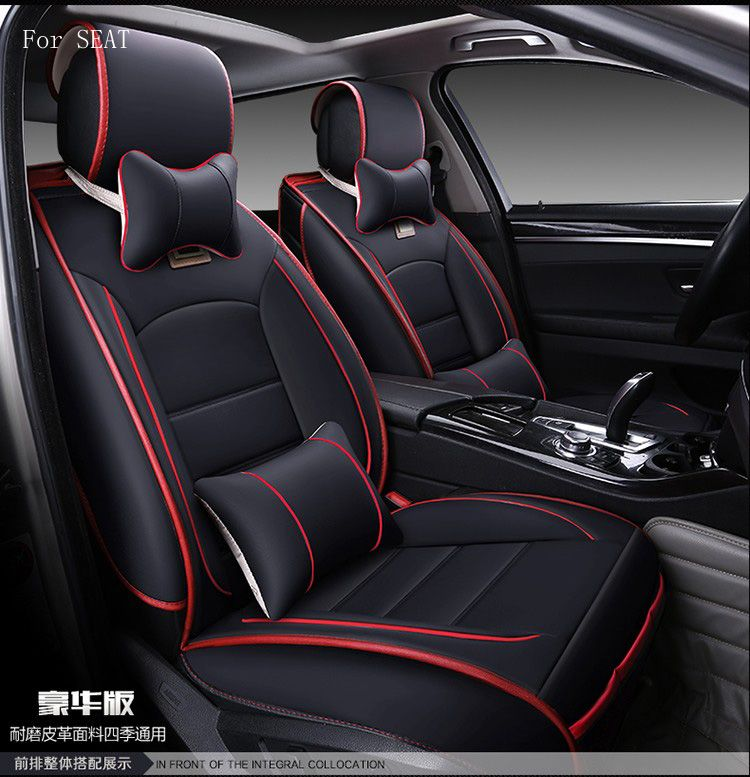 For SEAT leon  ibiza coffee red black waterproof soft pu leather car seat covers easy clean front &rear full seat
