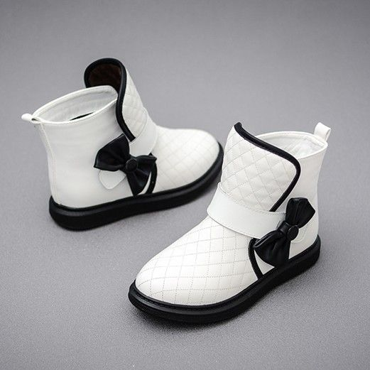 Free Shipping 2016 Girl fashion Autumn Winter Boots Add Wool Ankle Boots Lovely bowknot platform Boots white Black