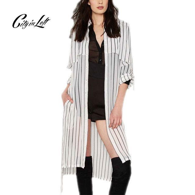 2016 Summer Style Women Chiffon Fashion Long Blouse Striped Full Sleeve Turn Down Collar Kimono Chiffon Long Shirt Blouse 1053