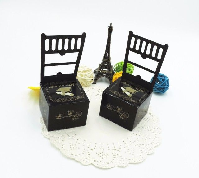 12pcs 2.99  100pcs 20  chair shape Graduation Cap Square Wedding Favor Boxes/Candy Boxes,Chocolate Box,high quality