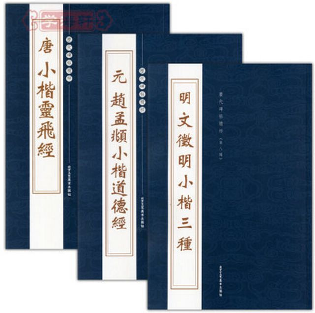 3 pcs/set, Pen pencil Chinese Calligraphy brush Practice Book Zhao Mengfu lingfeijing Tao TeChing small regular script copybook