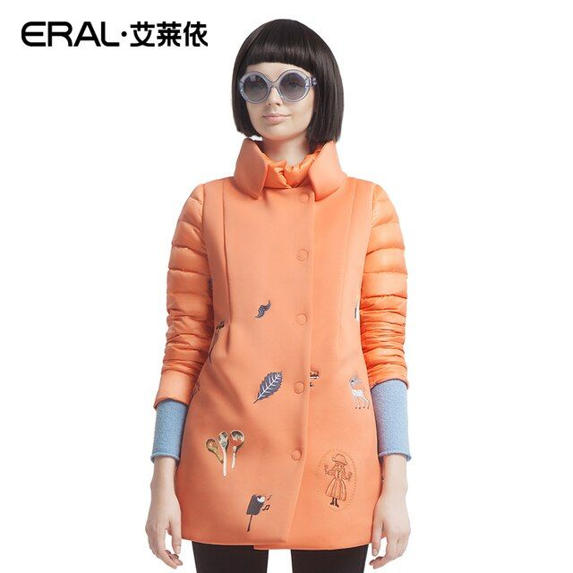 ERAL 2016 Winter Women's Embroidery Stand collar Medium-long Slim Print Down Coat Jacket ERAL6051D