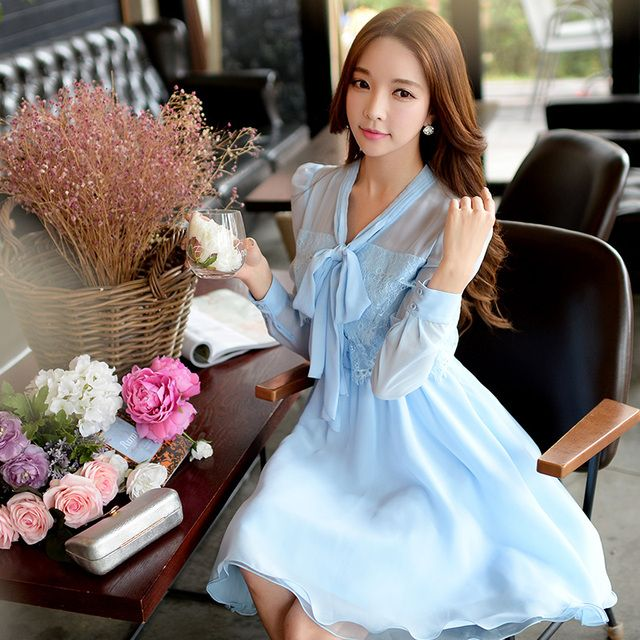 Original 2016 Brand Spring and Autumn Vestidos Long-Sleeved  Slim Elegant Casual Lace Chiffon Dress Women
