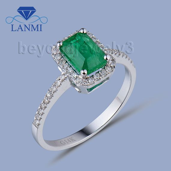 Natural Emerald Gold Ring In Solid 18kt White Gold Columbian Emerald Ring,780 Gold Emerald Gemstone Diamond Jewelry WU94B