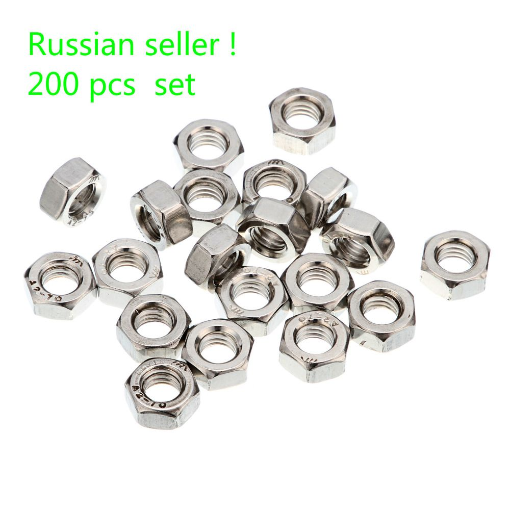 Russian seller ! 200pcs M6 Nuts A2 Stainless Steel Hex Nuts To Fit Our Bolts and Screws