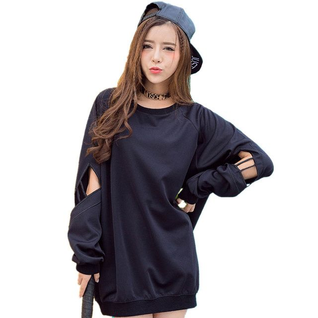Korean Style Hollow Black Sweatshirt Cool women hoodies sweatshirts Casual personalized cutout Gothic Clothes disfraces adultos