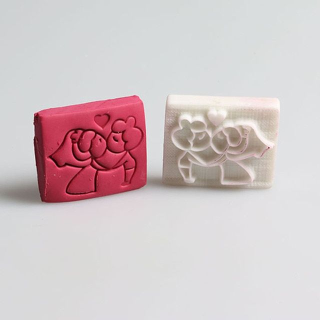 Sweet couple pattern handmade soap stamp custom DIY new Acrylic Soap printed pattern heart soap chapter
