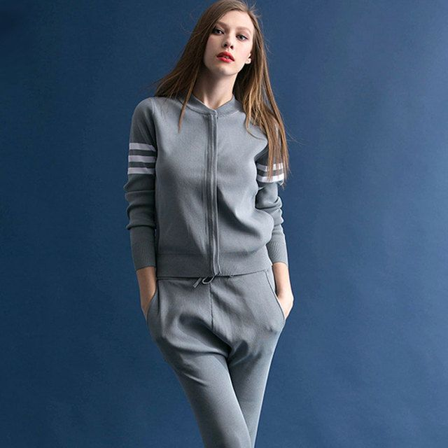 Wholesale Women Casual 2 Piece Set Tops And Pants Autumn 2016 Long Sleeve Round Collar Oversized Ensemble Jupe Et Haut Femme