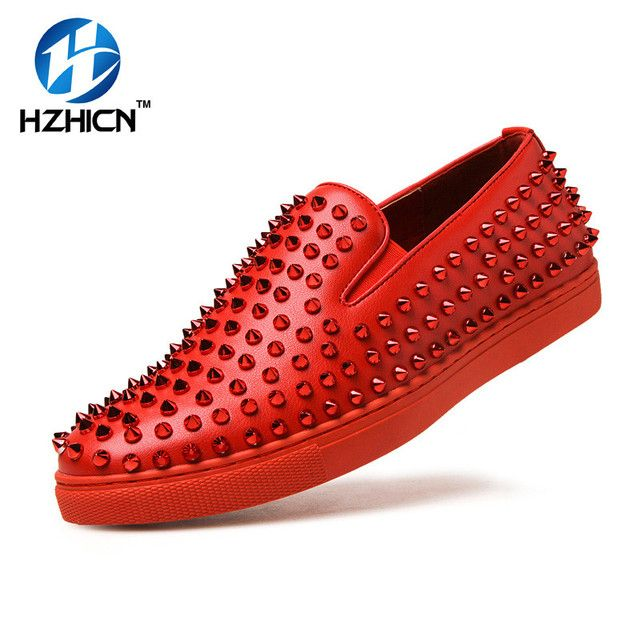Men Shoes Top Quality Red Bottom Men Shoes Fashion Dandelion Spikes Men Loafers Rivets Vulcanize Dress Shoes Men Flats Black