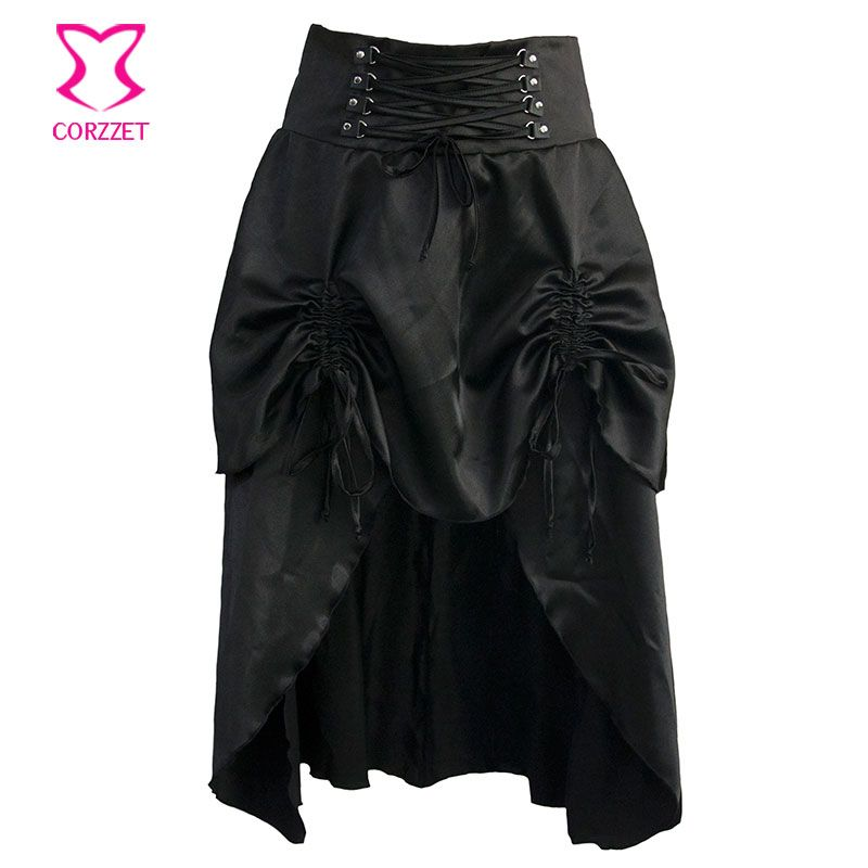Clubwear Sexy Punk Rock Clothing Black Low Waist 2 Layers Ruffles Long Skirts Womens Vintage Gothic Steampunk Skirt Plus Size