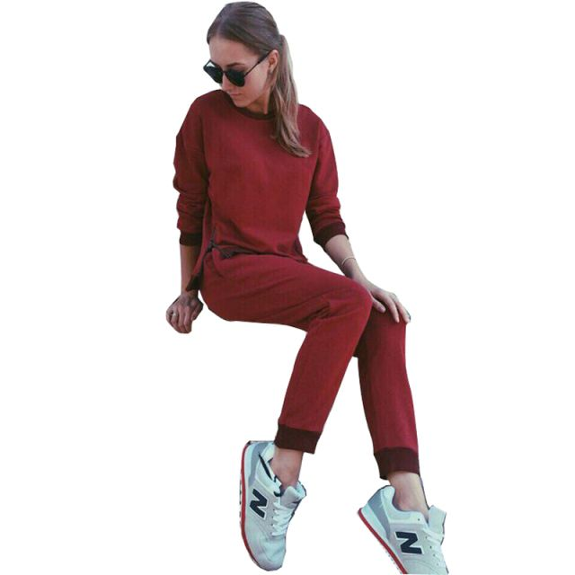 2016 Autumn 2 Piece Set Women Fashion Zipper Patchwork Warm Suit Hoodie And Long Pants Casual Tracksuits Sweater Fitness Suit