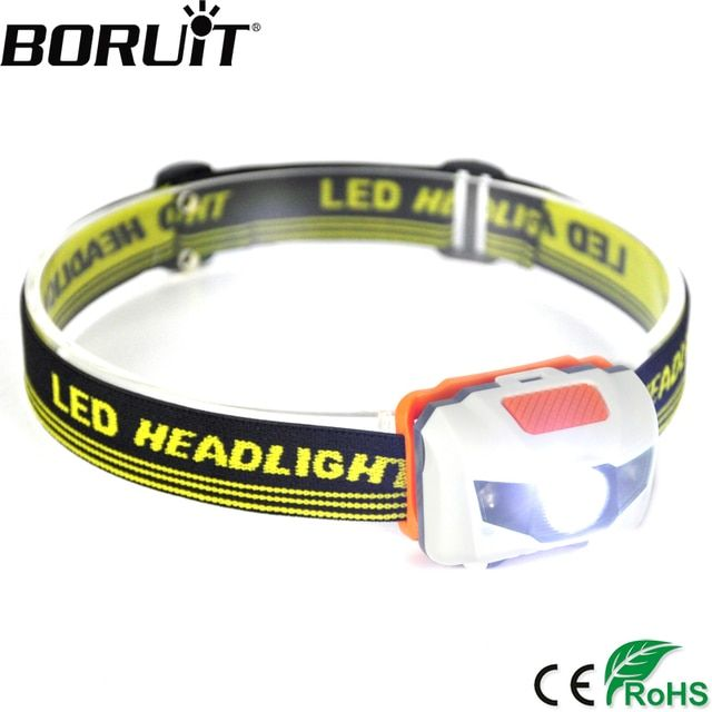 BORUiT 300Lm 3 LED Mini Headlamp 4-Mode Waterproof Head Torch Super Bright Headlight Hunting Camping Frontal Lantern AAA Battery