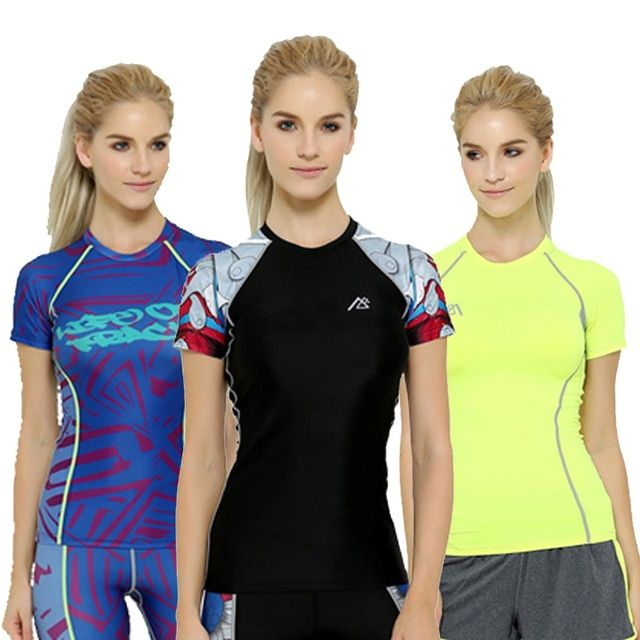 Women  Compression Shirt Women T Shirt Fitness Tights Top Dry Quick Short Sleeve T-shirts