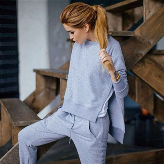 2017  hoodie set irregular side open split female winter sweatshirts pants jersey sweatpants suit sportswear tracksuits