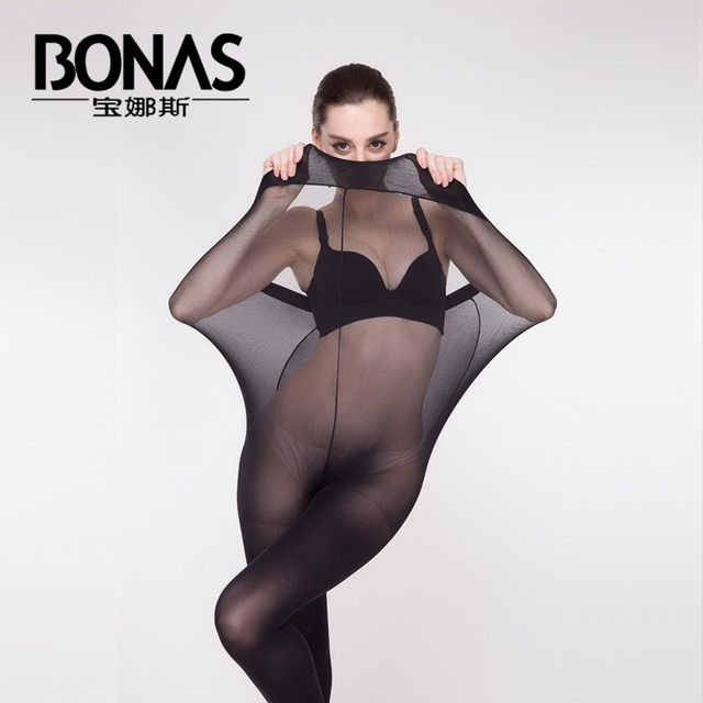 2016 Famous BONAS Any Cutting Shiny Pantyhose Women Tights Breathable Seamless Pantyhose Anti-Off Wire Nylon Shaping Pantyhose