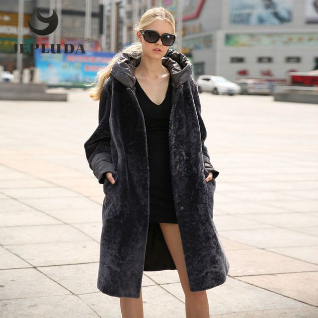 JEPLUDA Winter Genuine Leather Warm Women's Down Detachable Down Hood With Sleeves Loose Type Real Fur Coat Winter Jacket Women