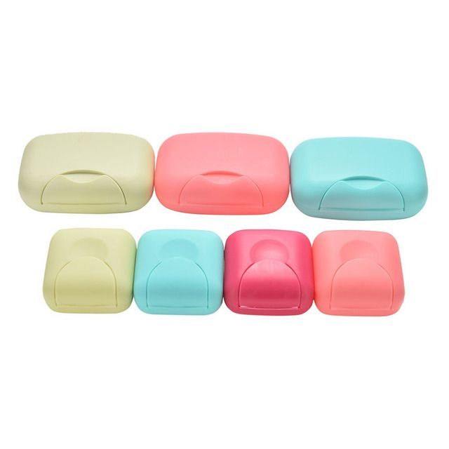 u-hoMEy 4 colors mini Bathroom Dish Plate Case Home Shower Travel Hiking Holder Container Soap Box 2 Size