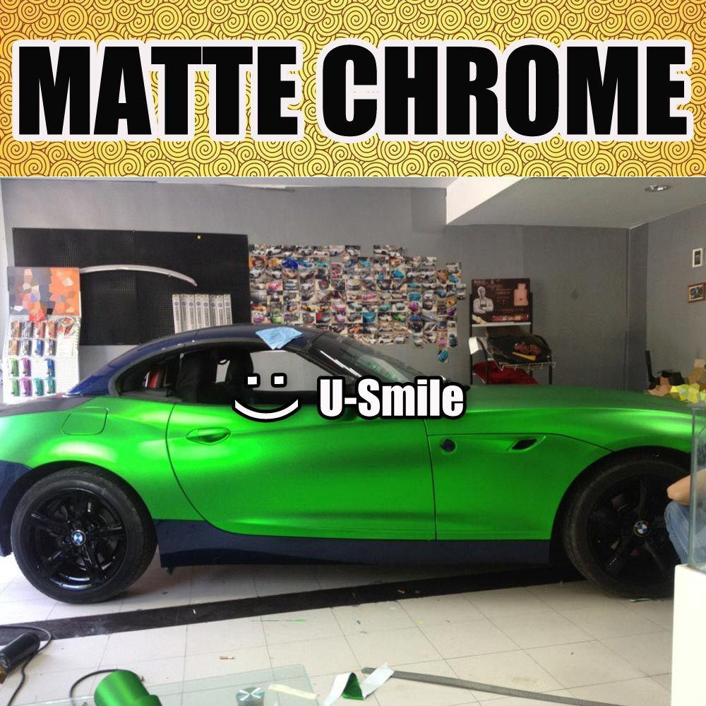 High quality Apple Green Matte Chrome Film Vinyl Car Sticker Matt Green Chrome Wrap Air Free Car Wrapping