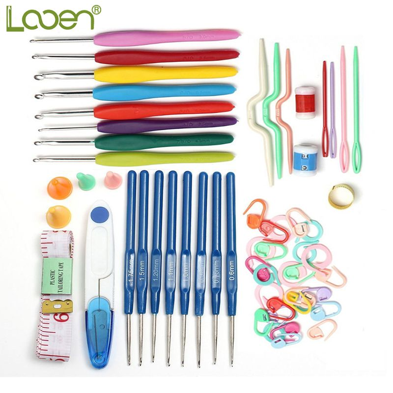 Looen Brand 53pcs Crochet Hook Sets Needle Tape Scissor Multifunction Threads Sewing Accessory Portable Useful Travel Home Tools