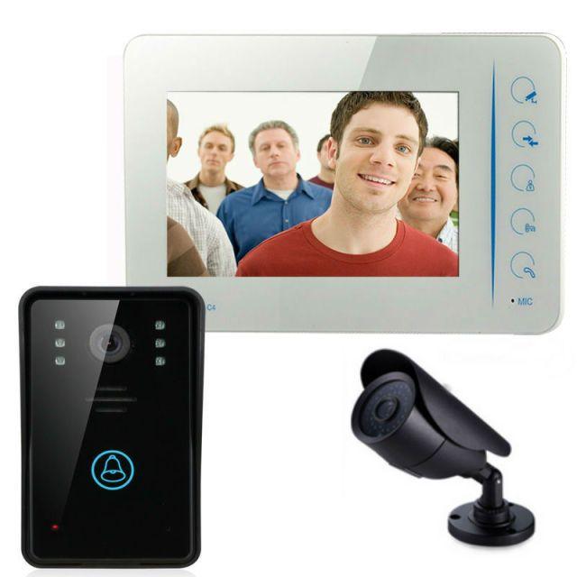 "YobangSecurity 7""Video DoorPhone Video Intercom Home Doorbell System IR Night Vision intercom With CCTV Outdoor Bullet Camera"