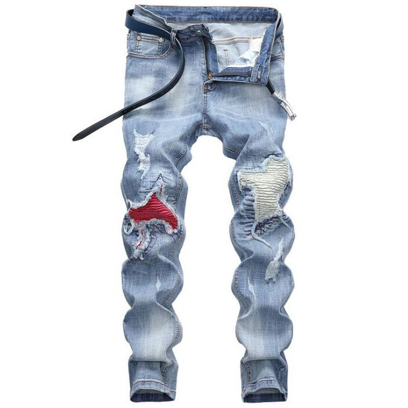 Men jeans High quality  hole Casual  ripped jeans men hiphop pants  Straight jeans for men denim trousers jeans men