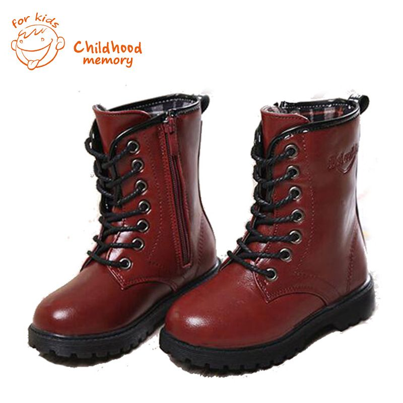 Classic Winter Boots For Baby Boys Girls PU Leather Lace-Up  babyShoes Zipper In Tube  baby Boots Hot Sale