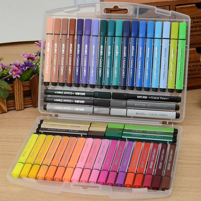 48 Colors/Set Washable Large Color Pens with Triangle Barrel Kids Art and Crafts School DIY Painting Supplies Student Drawing