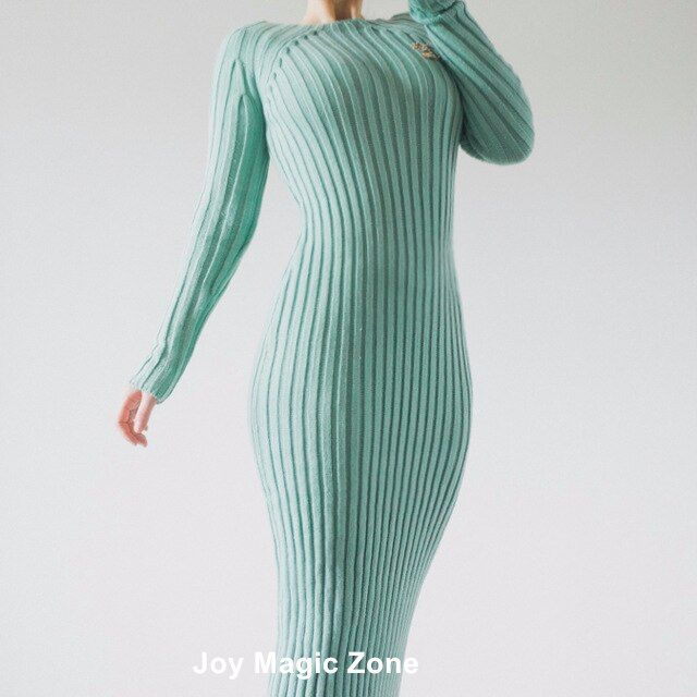 yomrzl new arrival spring and autumn cotton women's dresses, high quality one piece blue slim long sleeve dress L408