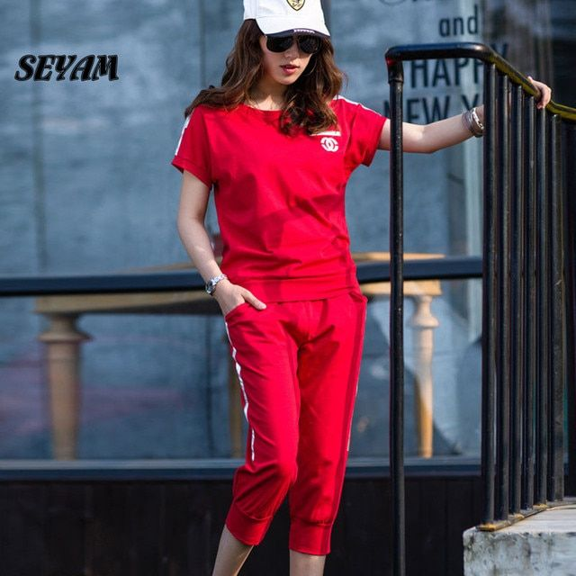 SEYAM Women Suits L-4XL Plus Size Tracksuit Short Sleeve Pullover Red Suits Summer Costume Sweatshirt PL0278