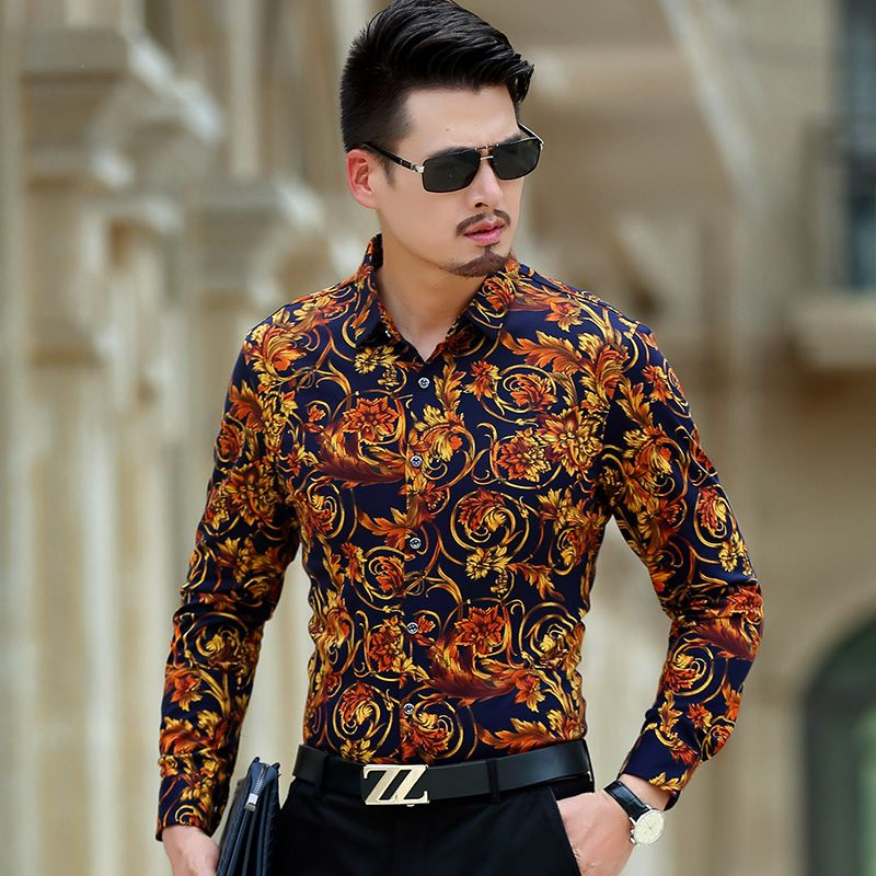 Luxury Brand Mens Shirts Vogue Man Shirt Fancy Men Casual Floral Dress Shirts Long Sleeve Noble Royal Big Men Clothes 3XL