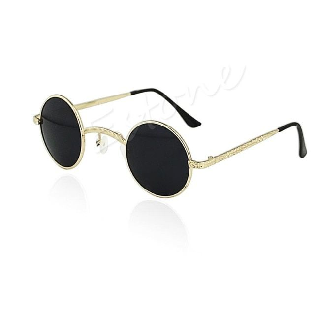 Fashion Mens Womens Retro Style Round Glasses Cyber Goggles Steampunk Sunglasses hot