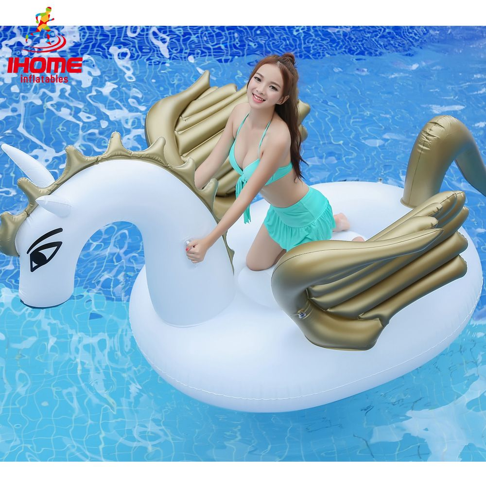 HOT selling 2.5m 98 inch Giant Inflatable Unicorn Water Pool Floats White Pegasus Float Swimming Air Mattress Bed summer floats