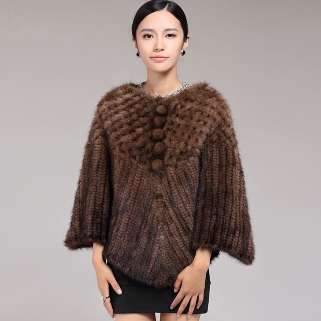ZDFURS * fashion fur shawl  mink fur knitted shawl quality mink fur poncho ladies short style