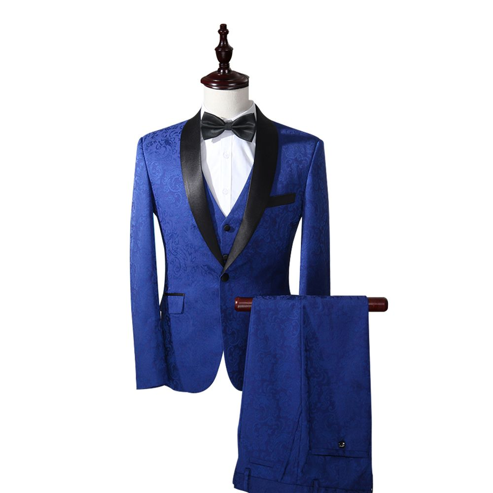 (Jackets+Pants+Vest) Men Prom Suits New Brand Printed Men Business Royal Blue Suit Wedding Dress Suit Groom Slim Fit Men Suit