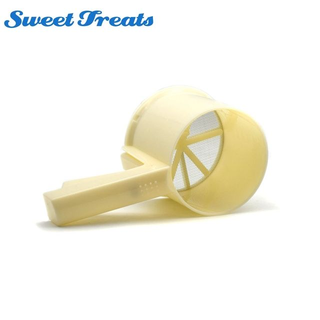 Sweettreats NEW Plastic Cup Shape Mechanical Flour Sieve Powder Sifter Baking Icing Sugar Shaker with Handle Bake Tool
