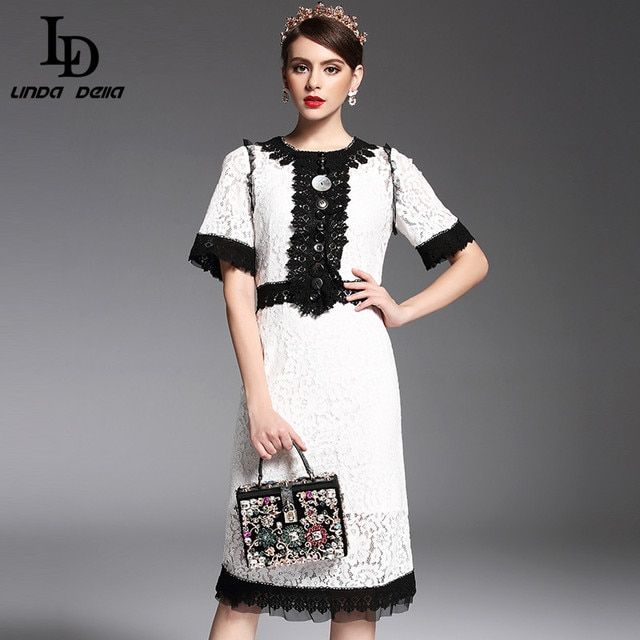 High Quality 2017 Spring Summer Designer Runway Dress OL Women's Elegant Crystal Button Patchwork Lace Knee Length Dress