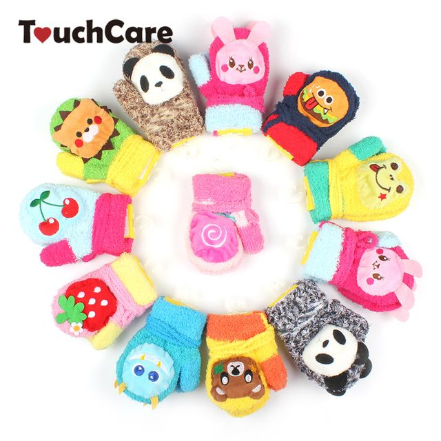 Cute Cartoon Animal Baby Boy Girl Gloves Winter Newborn Thicken Warm Fleece Mittens Infant Unisex Coral Velvet Kids Gloves