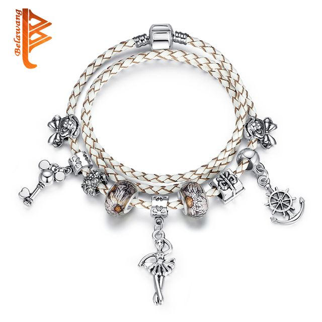 Original Silver Color Clasp White Genuine Leather Bracelets for Women DIY Angel Charm Bracelet Bangle Jewelry Christmas Gift