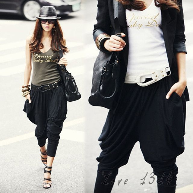 Womens Harem Pants Lantern Elastic Waist Casual Dance Hip-Hop Pants Ladies Loose Capris Baggy Trousers Black Pants Hot 14813