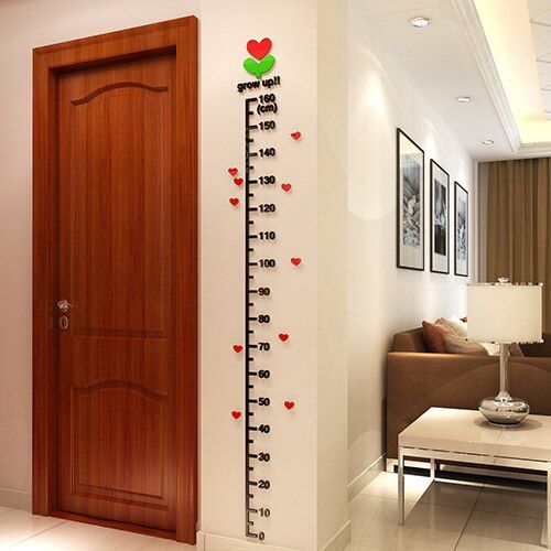 High quality Beautiful DIY 3D PVC Home decoration accessories tops Wall sticker for kids rooms Children height measure Tracking