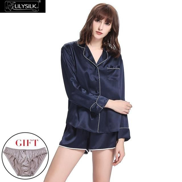Lilysilk Pijama Mujer 22 Momme Homewear Sleepwear 100% Silk Pure Pajamas Shorts Set With Trimming Stitch Nightie Sleep Lounge