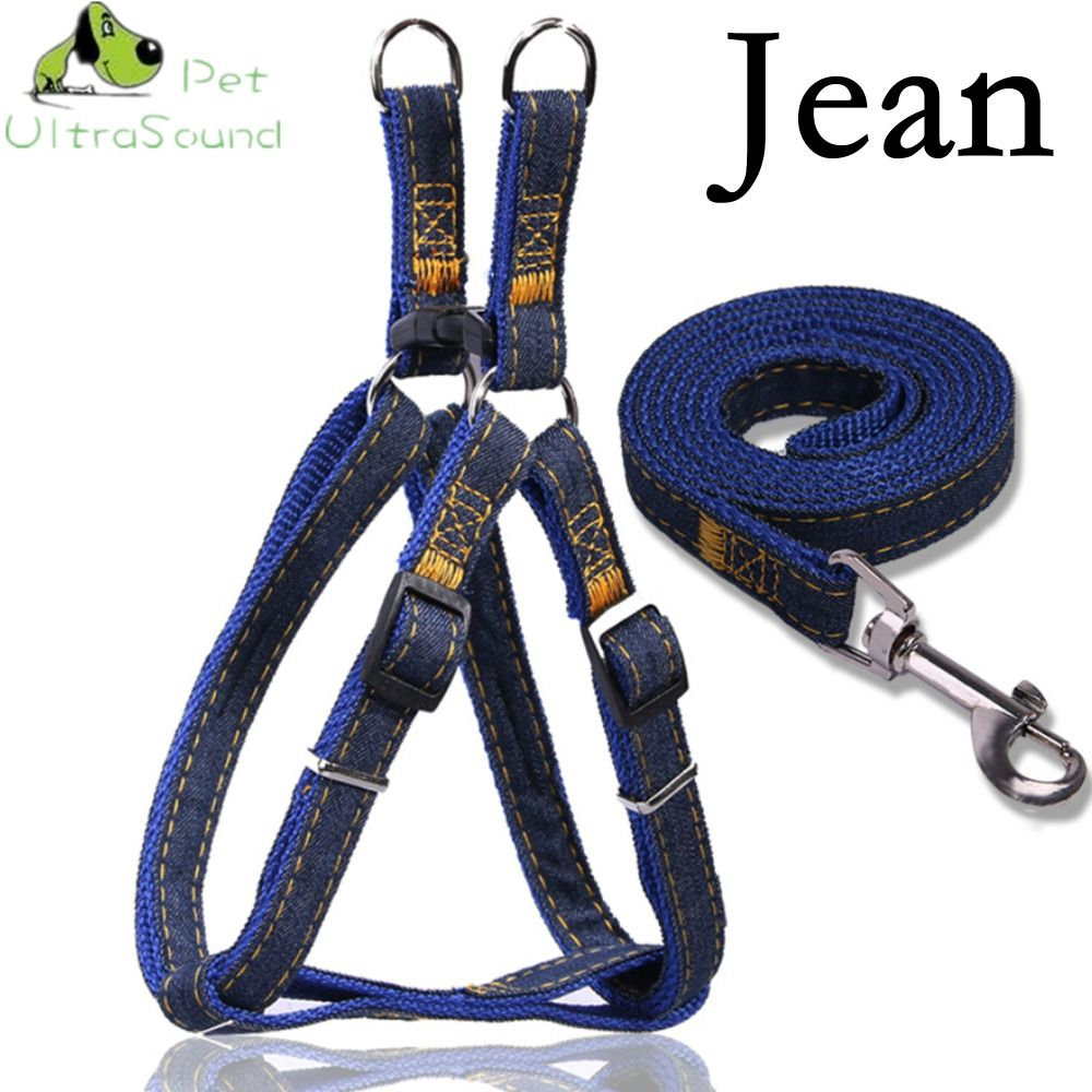 ULTRASOUND PET Dog Jean Harness With Lead Leash Control Restraint Cat Puppy Dog Harness Soft Walk Vest Large Dog Blue Red Black