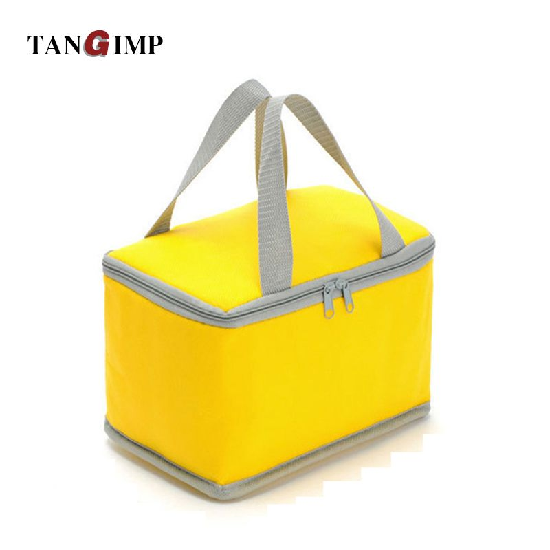 TANGIMP Portable Insulated Lunch Bag Non-woven Thermal Food Take-out Picnic Cooler Bag sac dejeuner Candy Color for Kids Women