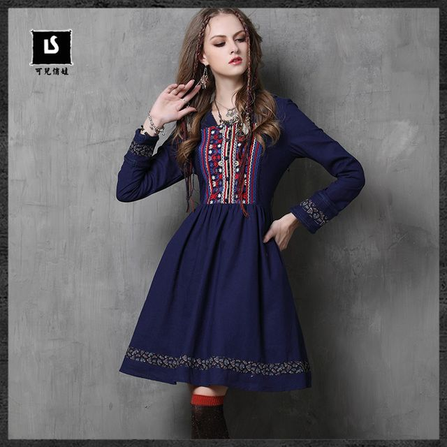 Keer Brand 2017 New Bohemia Spring Women's Dress Cotton Embroidery Bowknot Ruffles A-line Autumn Dress Women Vestidos Mujer 6538
