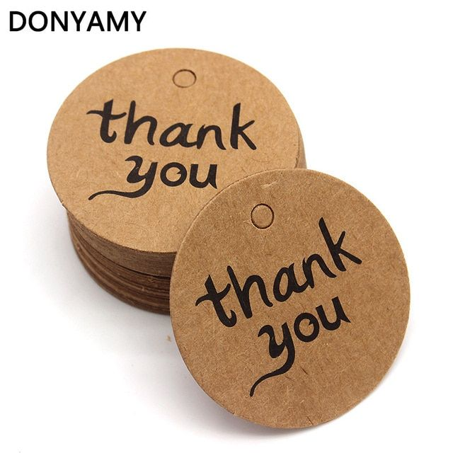 DONYAMY 500pcs 4*4 CM DIY Scrapbooking Paper Kraft THANK YOU Hang Tags Crafts Postcards Wedding Label Tag