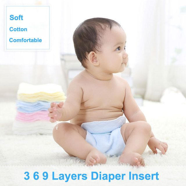Corlorful Cotton Baby Cloth Diaper Insert 3 6 9 Layer Newborn Disposable Nappy Liners for Baby Flushable Infant Diaper Liner 1PC