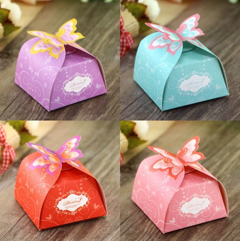 50Pcs Purple Pink Red Blue Butterfly Style Wedding Favors Candy Boxes Bomboniera Chocolate Paper Boxes Party Gift Box